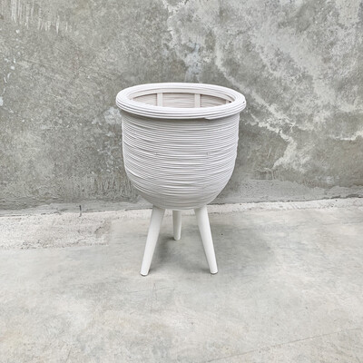 RATTAN PLANTER WHITE - SMALL