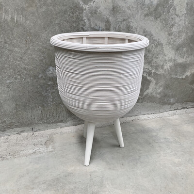 RATTAN PLANTER WHITE - LARGE