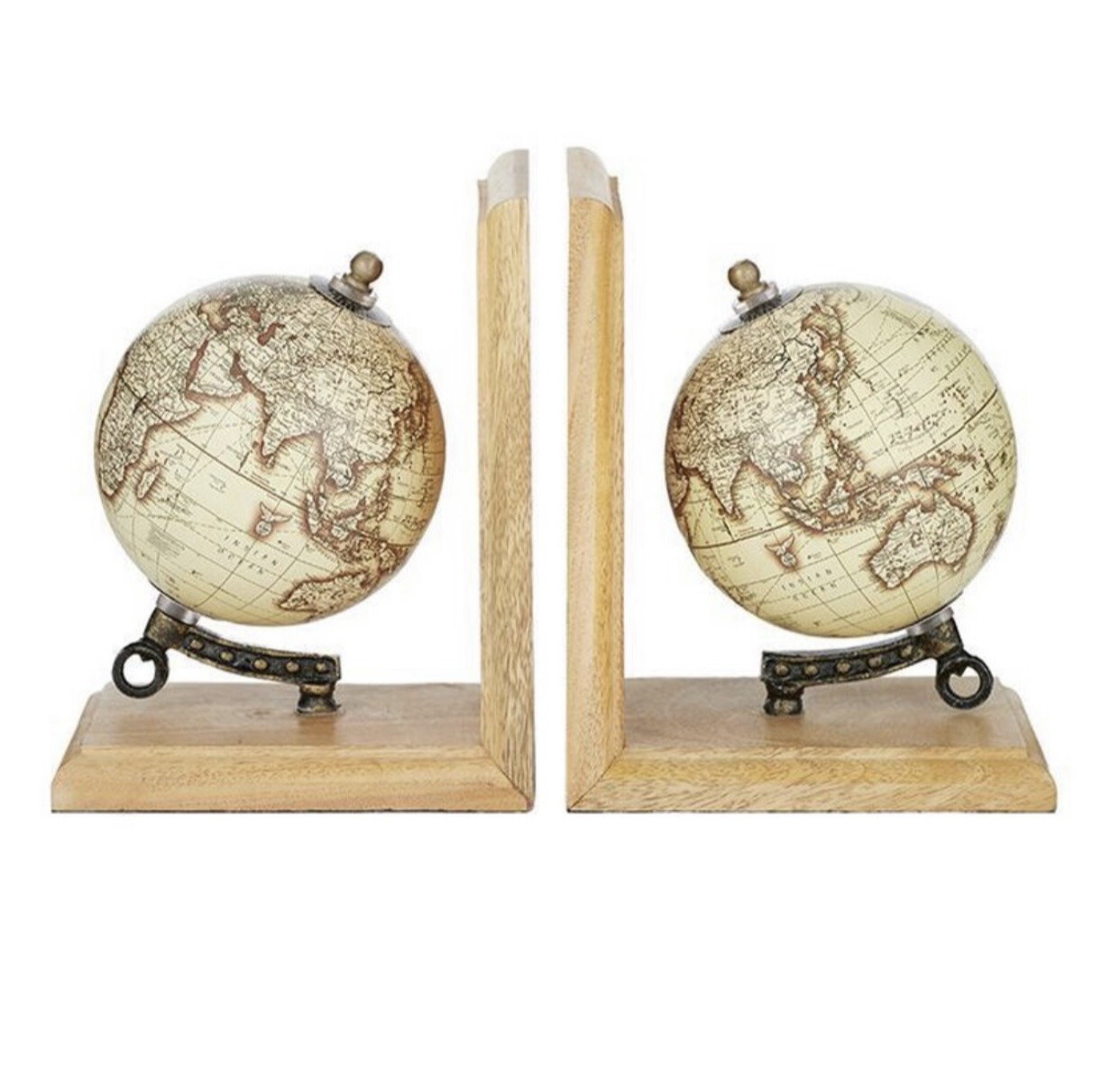 WORLD GLOBE BOOKENDS NATURAL