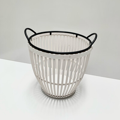 BAMBOO METAL WHITE BASKET SMALL