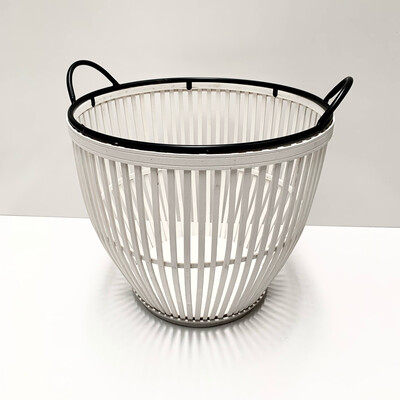 BAMBOO METAL WHITE BASKET LARGE