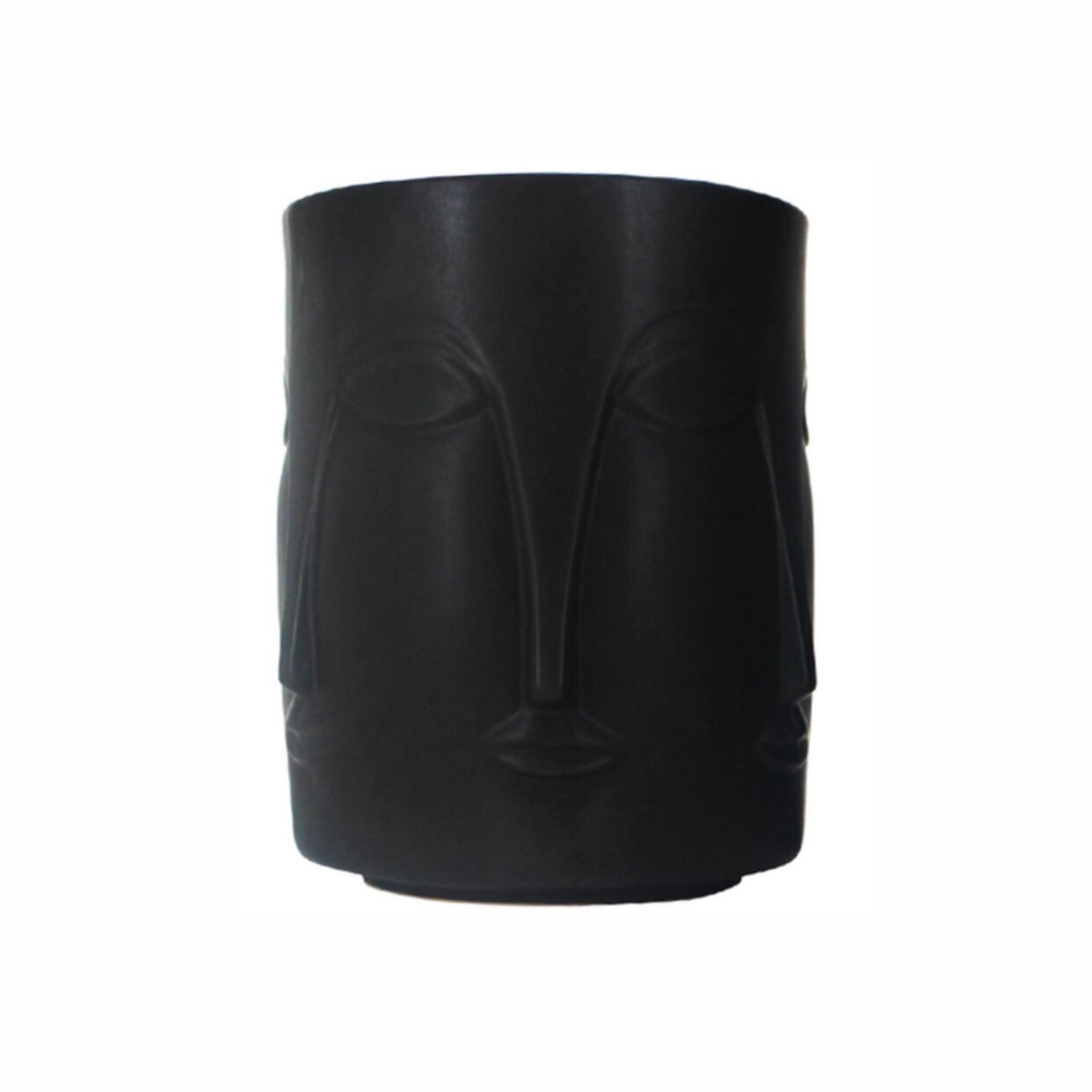 CHAGALL CERAMIC FACE PLANTER - BLACK