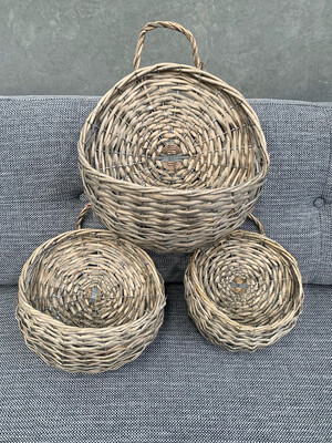 RATTAN HANGING BASKETS SET/3