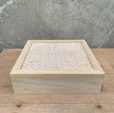 SQUARE NATURAL / WHITE WOVEN TEA BOX