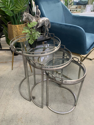 SILVER METAL TABLES SET OF 3