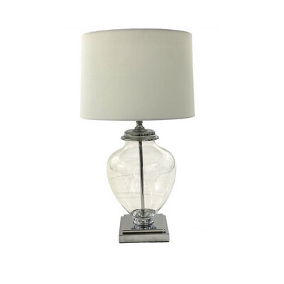 GLASS SILVER TABLE LAMP