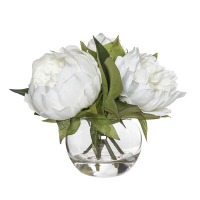 WHITE PEONY-SPHERE GLASS VASE