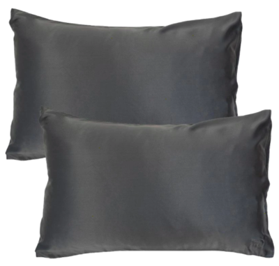 THE GOODNIGHT CO. Silk Pillowcase Twin Set CHARCOAL