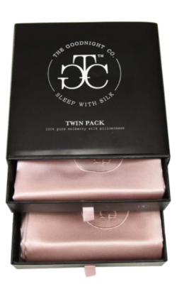 THE GOODNIGHT CO. Silk Pillowcase Twin Set PINK