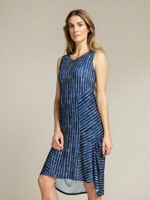 Sympli Sleeveless Tuck Dress-Painted Lines Navy