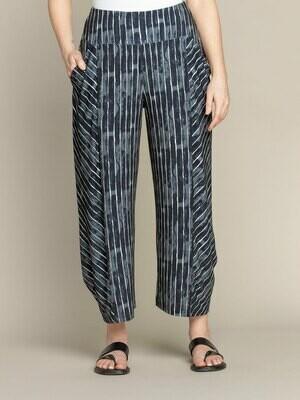 Sympli Lantern Pant-Painted Lines Black