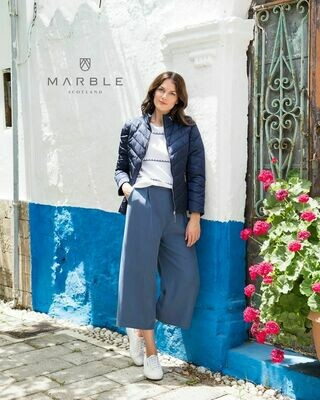 Marble Quilted Jacket-Navy