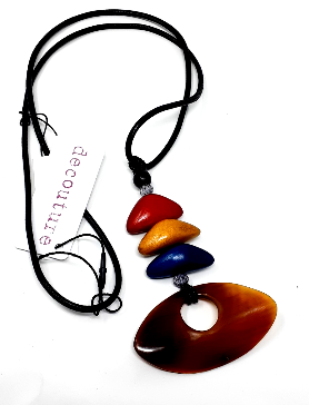 Necklace-Decouture Horn & Wood Pendants