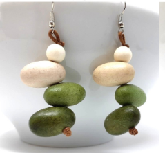 Earrings-Lime & Offwhite  Wooden Shapes