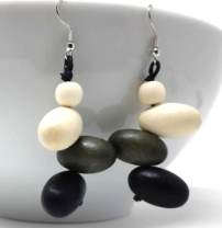 Earrings-Black Multi Wooden Shapes