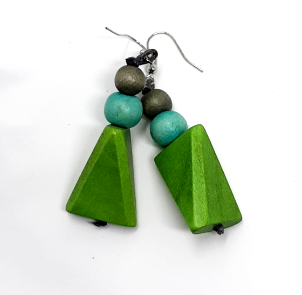 Earrings-Green Wooden Triangle
