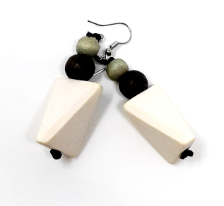 Earrings-White Wooden Triangle