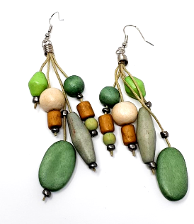 Earrings-Dangle Green Wooden Multi