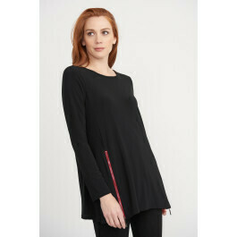 Joseph Ribkoff Tunic-Black with Red Detail