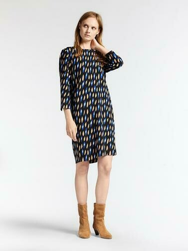 Sandwich Dress Blue Black Print