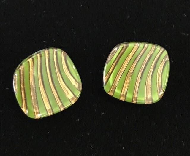 Zsiska Earrings-Mirage Striped Green/Gold