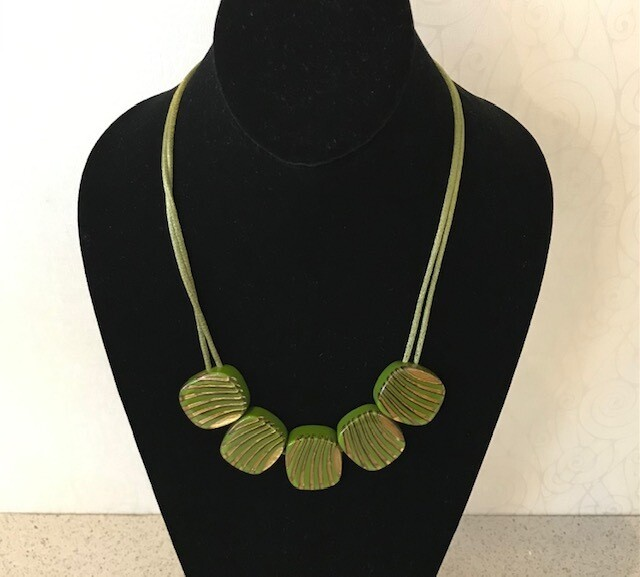 Zsiska Necklace-Mirage Striped Green/Gold