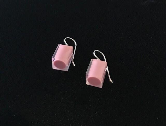 Zsiska Earrings-Colourful Beads Square Short  Mauve