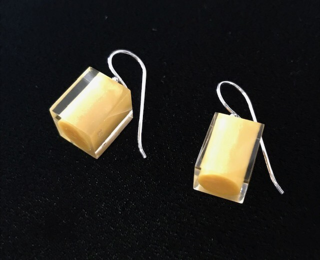 Zsiska Earrings-Colourful Beads Square Short  Yellow