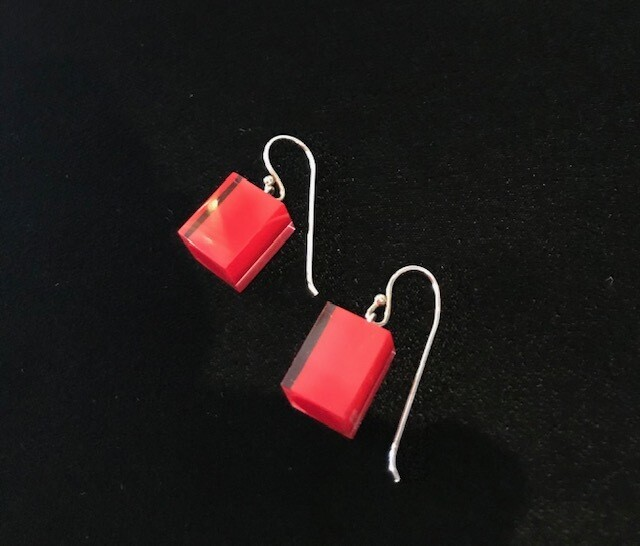 Zsiska Earrings-Colourful Beads Square Short  Red