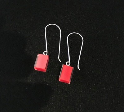Zsiska Earrings-Colourful Beads Square Long Red