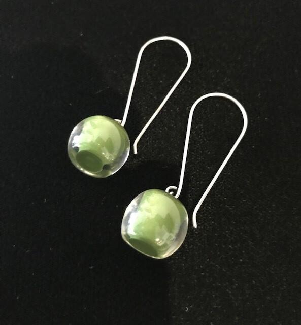 Zsiska Earrings-Colourful Beads Long Olive Green