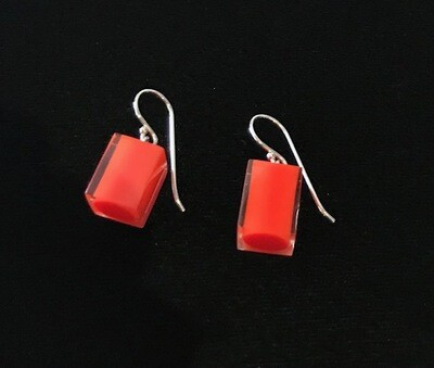 Zsiska Earrings-Colourful Beads Square Short  Coral