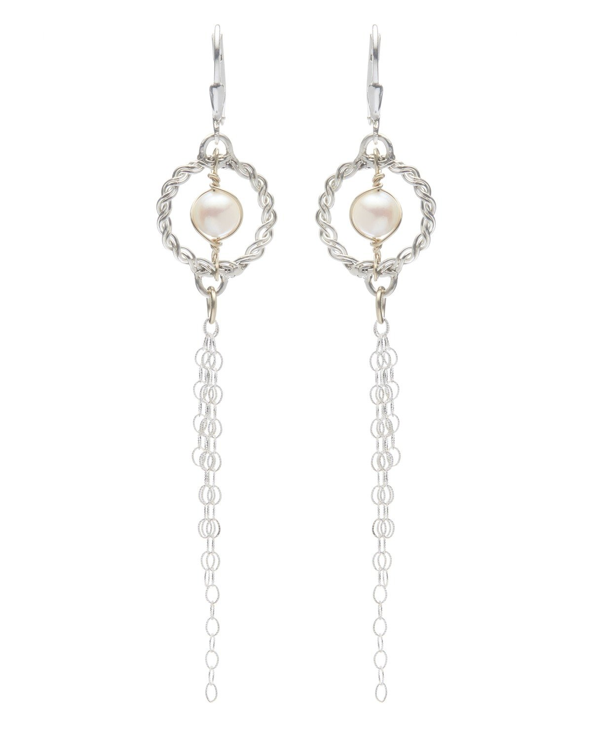 Circle of Life Salt Water Pearl Earrings