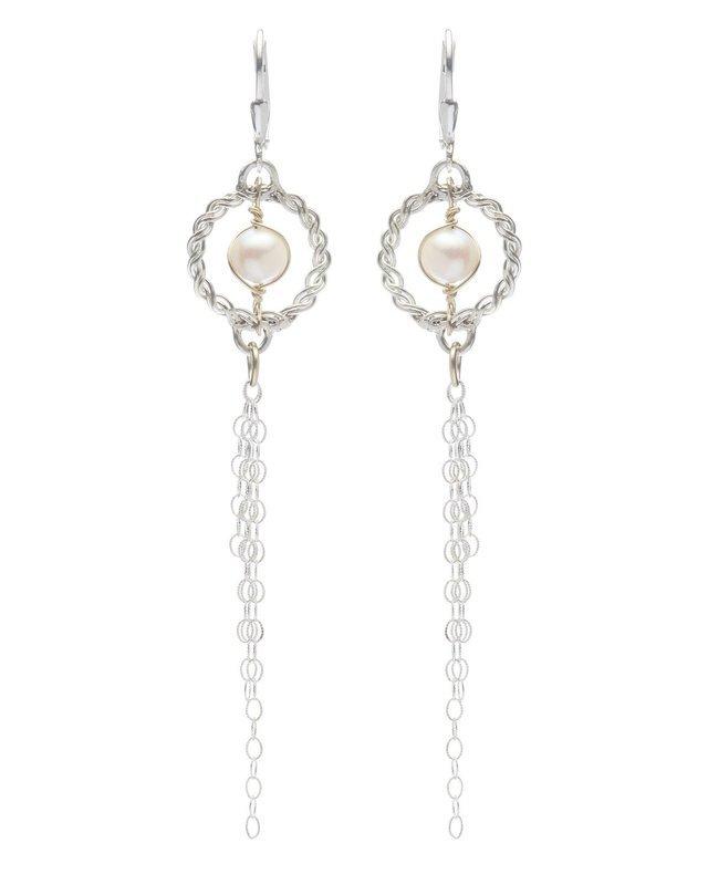 Circle of Life Salt Water Pearl Earrings