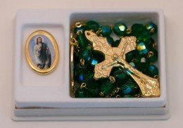 St. Jude Medal and Green Crystal Rosary Set