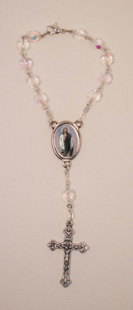 St. Jude One Decade Auto Rosary, Crystal