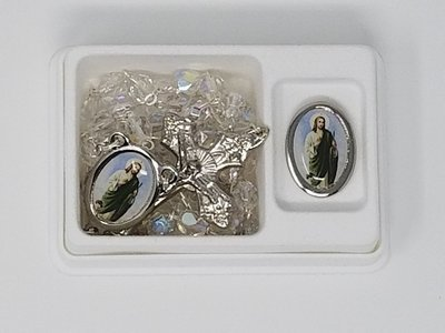 St. Jude Medal and Clear Crystal Rosary Set