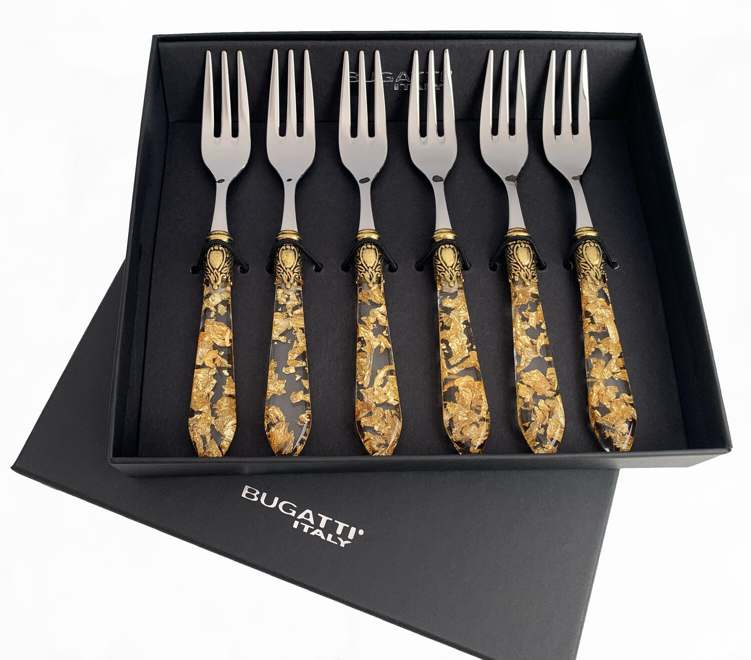 Oxford Gold Ring Gold Fleck 6 Piece Cake Fork Set