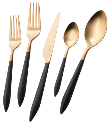 Ares Gold / Black 5 Piece Place Setting