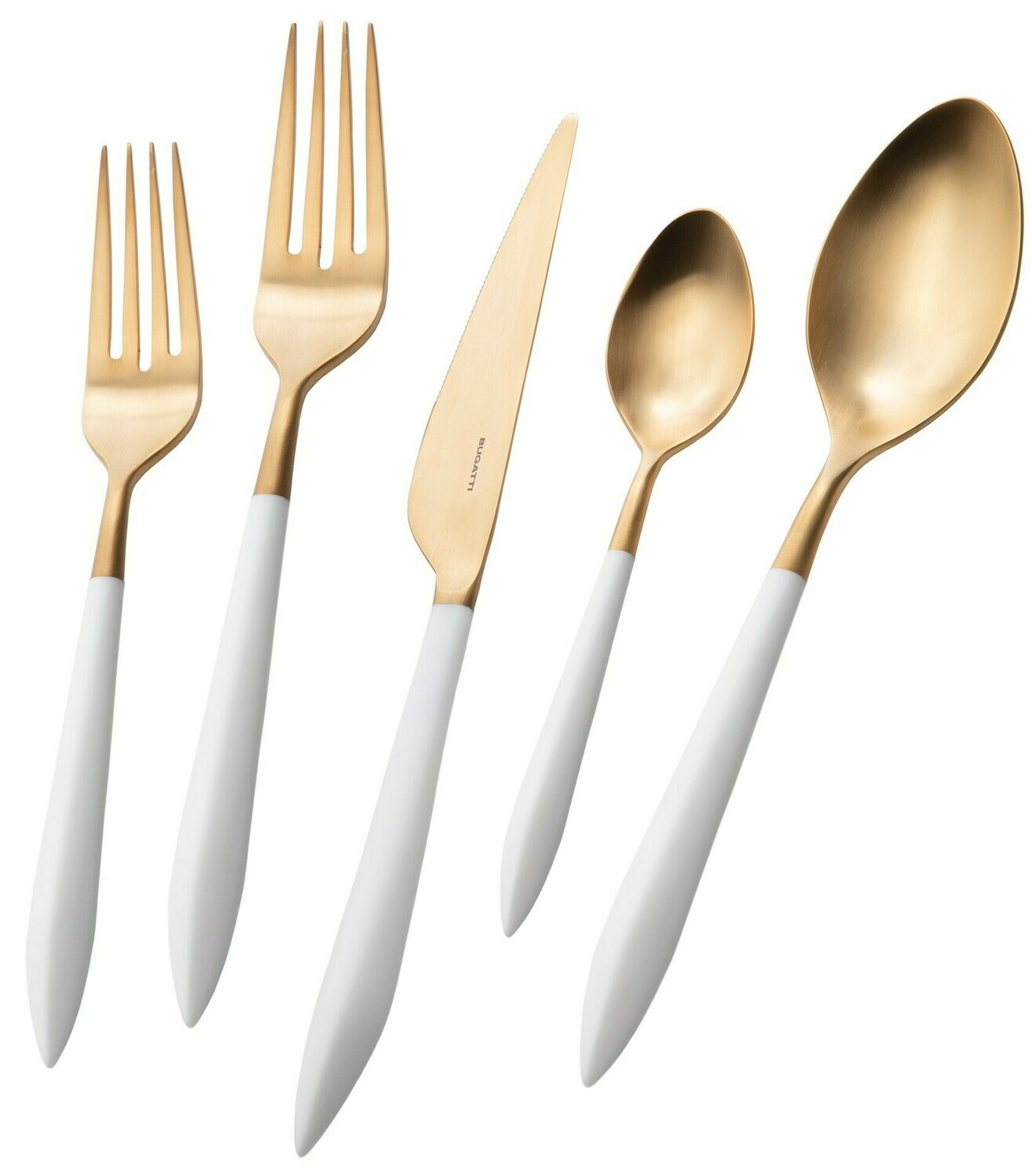 Ares Gold / White 5 Piece Place Setting