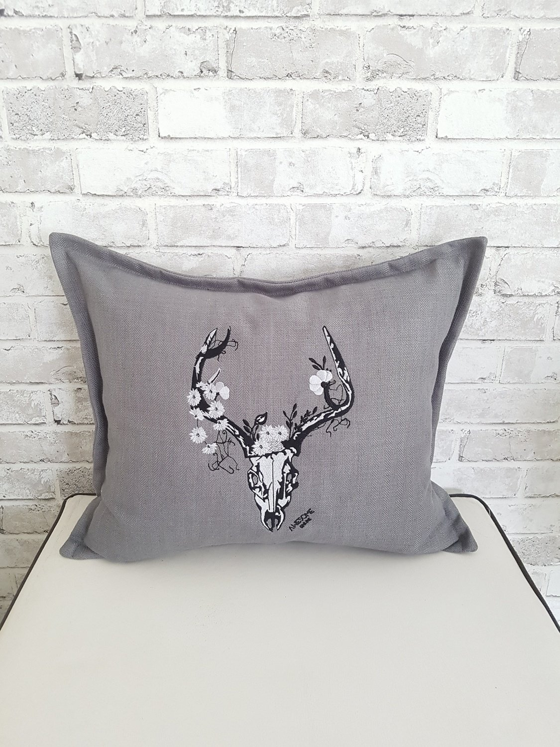 Stag Full Embroidery on School Grey