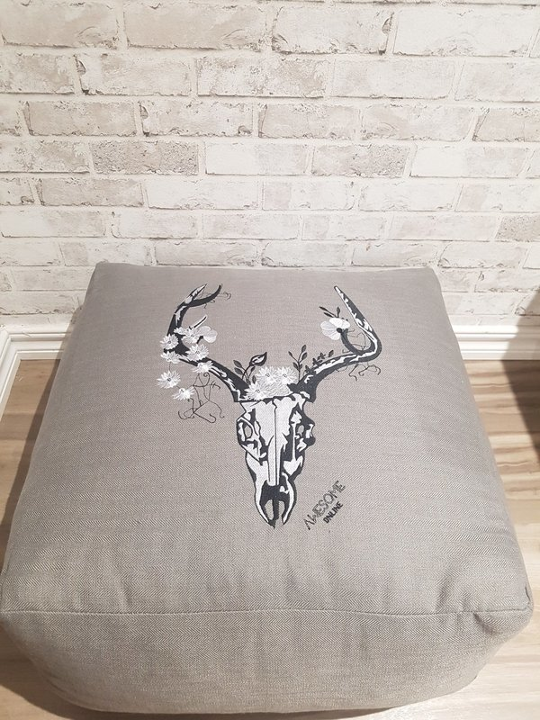 Stag FULL Embroidered in Grey- Pouf