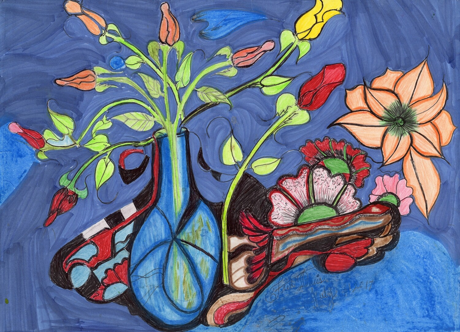 Print 11x17 Blue Vase with Flowers by Fred Davis