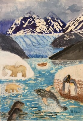 Print 11x17 - Life Flourishing in Alaskan Waters by Evelyn Ostreicher