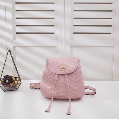 IN STOCK - PINK Gucci GG Marmont Matelassé Chevron Leather Backpack Bag