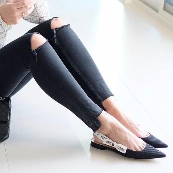 IN STOCK - Christian Dior J'adior Ribbon Pointy Toe Sling Back Flats SIZE 9
