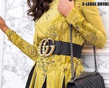 "PRE ORDER- 1:1 Gucci GG Pearl Embellished Leather Belt 2.75"" wide"