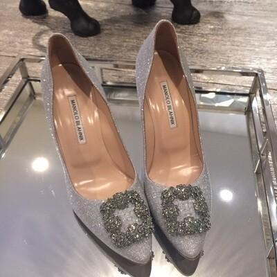 IN STOCK- 1:1 Manolo Blanik Hangisi 7 cm Heels - Silver Glitter SIZE 7.5