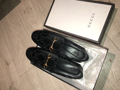 PRE ORDER 1:1 Gucci Men Interlocking GG Black Velvet Loafer Size 10.5-11 US / 44EU