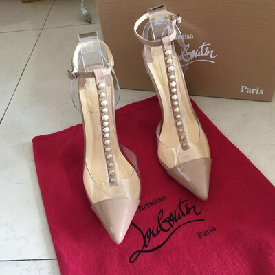 IN STOCK 1:1 Christian Louboutin Nosy Spikes PVC / leather pumps 100mm Patent Nude Size 6.5/ 7 US
